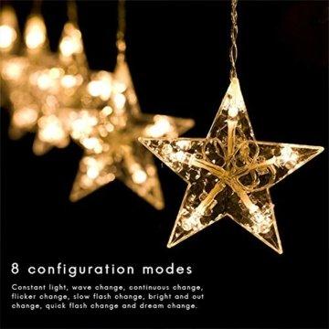 138 LED 2.5M Lichterkette Sternenvorhang, LED Sternenlichterkette Lichter, Weihnachtsdeko Weihnachtsbeleuchtung Deko Christmas Lichtervorhang Innen Außen, LED String Licht (2.5m mit 138LEDs) - 3