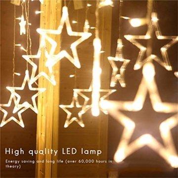 138 LED 2.5M Lichterkette Sternenvorhang, LED Sternenlichterkette Lichter, Weihnachtsdeko Weihnachtsbeleuchtung Deko Christmas Lichtervorhang Innen Außen, LED String Licht (2.5m mit 138LEDs) - 4