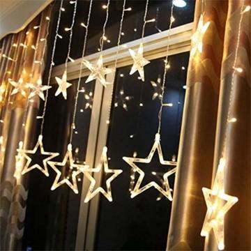 138 LED 2.5M Lichterkette Sternenvorhang, LED Sternenlichterkette Lichter, Weihnachtsdeko Weihnachtsbeleuchtung Deko Christmas Lichtervorhang Innen Außen, LED String Licht (2.5m mit 138LEDs) - 1