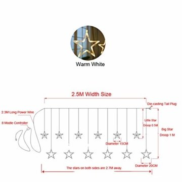 138 LED 2.5M Lichterkette Sternenvorhang, LED Sternenlichterkette Lichter, Weihnachtsdeko Weihnachtsbeleuchtung Deko Christmas Lichtervorhang Innen Außen, LED String Licht (2.5m mit 138LEDs) - 5