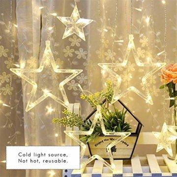 138 LED 2.5M Lichterkette Sternenvorhang, LED Sternenlichterkette Lichter, Weihnachtsdeko Weihnachtsbeleuchtung Deko Christmas Lichtervorhang Innen Außen, LED String Licht (2.5m mit 138LEDs) - 6