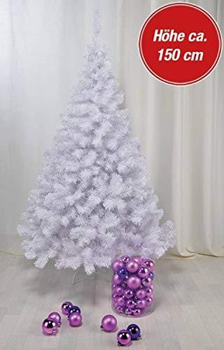 150 cm hoher Christbaum in weiß Weihnachtsbaum Tannenbaum Kunststoff 150 cm hoch mit Ständer - 2