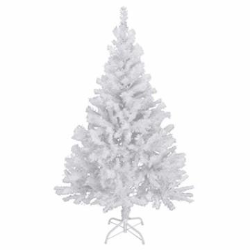 150 cm hoher Christbaum in weiß Weihnachtsbaum Tannenbaum Kunststoff 150 cm hoch mit Ständer - 1