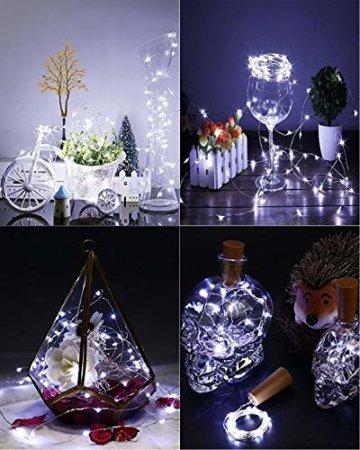 (16 Stück) Flaschenlicht Batterie, kolpop Flaschenlichterkette Korken 2M 20LED Glas Korken Licht Lichterkette mit Batterie für Flasche für außen/innen Deko für Party, Hochzeit, Weihnachten(KaltesWeiß) - 2