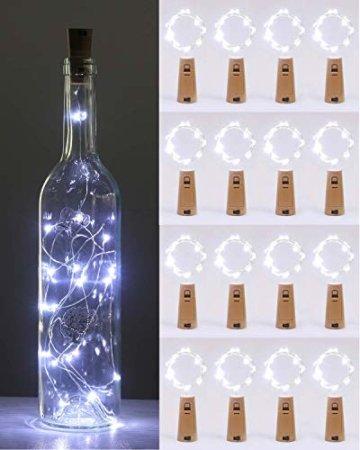 (16 Stück) Flaschenlicht Batterie, kolpop Flaschenlichterkette Korken 2M 20LED Glas Korken Licht Lichterkette mit Batterie für Flasche für außen/innen Deko für Party, Hochzeit, Weihnachten(KaltesWeiß) - 1