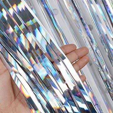 (1m x 2m) 6 stk Lametta Vorhänge Dekoration Folie Vorhang Glitzer Deko Glänzende Fransenvorhang Fransen Party Hintergrund Folien Glitzervorhang Schimmer Weihnachten (Silber) - 3