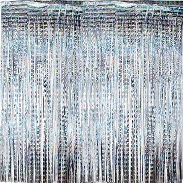 (1m x 2m) 6 stk Lametta Vorhänge Dekoration Folie Vorhang Glitzer Deko Glänzende Fransenvorhang Fransen Party Hintergrund Folien Glitzervorhang Schimmer Weihnachten (Silber) - 4