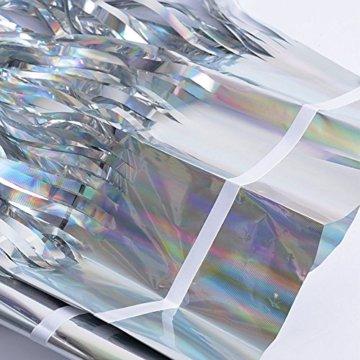 (1m x 2m) 6 stk Lametta Vorhänge Dekoration Folie Vorhang Glitzer Deko Glänzende Fransenvorhang Fransen Party Hintergrund Folien Glitzervorhang Schimmer Weihnachten (Silber) - 8