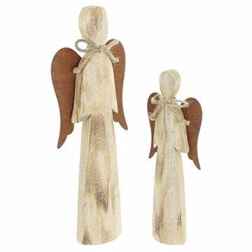 2 Deko Engel aus Holz, Natur/Rost Optik, 28 + 38 cm hoch, Adventsdeko, Weihnachtsdeko-Figur - 2