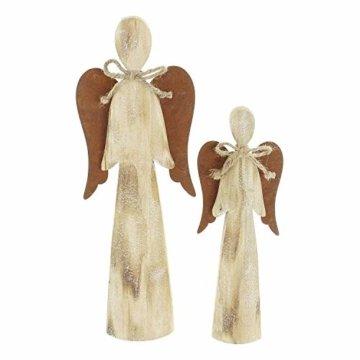 2 Deko Engel aus Holz, Natur/Rost Optik, 28 + 38 cm hoch, Adventsdeko, Weihnachtsdeko-Figur - 3