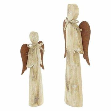 2 Deko Engel aus Holz, Natur/Rost Optik, 28 + 38 cm hoch, Adventsdeko, Weihnachtsdeko-Figur - 4