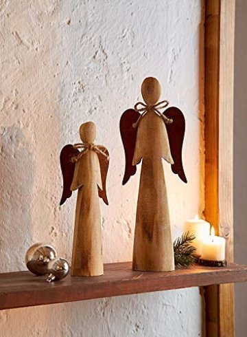 2 Deko Engel aus Holz, Natur/Rost Optik, 28 + 38 cm hoch, Adventsdeko, Weihnachtsdeko-Figur - 1