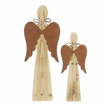 2 Deko Engel aus Holz, Natur/Rost Optik, 28 + 38 cm hoch, Adventsdeko, Weihnachtsdeko-Figur - 5