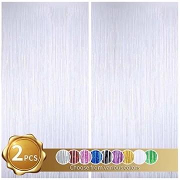 2 Stück Folien Fransenvorhang, weißes Lametta, metallische Vorhänge, Foto Hintergrund für Hochzeit, Verlobung, Brautparty, Geburtstag, Junggesellinnenabschied, Bühnendekoration(3,28 ft x 6,56 ft) - 1