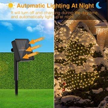 [2 Stück] Solar Lichterkette Aussen, Hepside Lichterkette Außen 12M 120 LED lichterkette solar außen IP65 Wasserdicht 8 Modus Balkon Lichterkette Solar für Deko Terrase Weihnachten Party, Warmweiß - 4