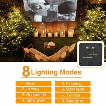 [2 Stück] Solar Lichterkette Aussen, Hepside Lichterkette Außen 12M 120 LED lichterkette solar außen IP65 Wasserdicht 8 Modus Balkon Lichterkette Solar für Deko Terrase Weihnachten Party, Warmweiß - 6