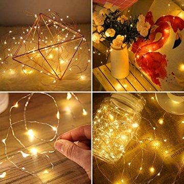 20 LEDs 2M Lichterkette, 10 Stück LED Lichterketten Mini Drahtlichterkette LED Lichts Warmweiß mit Knopfbatterie für Party, Garten, Weihnachte, Hochzei, Beleuchtung Deko - 2