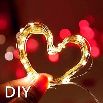 20 LEDs 2M Lichterkette, 10 Stück LED Lichterketten Mini Drahtlichterkette LED Lichts Warmweiß mit Knopfbatterie für Party, Garten, Weihnachte, Hochzei, Beleuchtung Deko - 5
