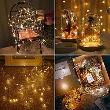 20 LEDs 2M Lichterkette, 10 Stück LED Lichterketten Mini Drahtlichterkette LED Lichts Warmweiß mit Knopfbatterie für Party, Garten, Weihnachte, Hochzei, Beleuchtung Deko - 6