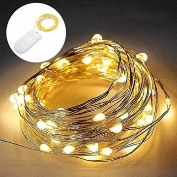 [20 Stück] Molbory Micro LED Lichterkette mit Batterie, 2M 20 LEDs Wasserdicht Lichterketten für Party, Garden, Weihnachten, Halloween, Hochzeit, Beleuchtung Deko, Flasche DIY (Warmweiß) - 2