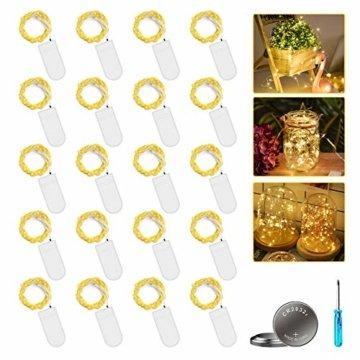 [20 Stück] Molbory Micro LED Lichterkette mit Batterie, 2M 20 LEDs Wasserdicht Lichterketten für Party, Garden, Weihnachten, Halloween, Hochzeit, Beleuchtung Deko, Flasche DIY (Warmweiß) - 1