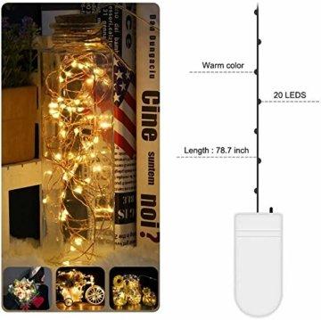 [20 Stück] Molbory Micro LED Lichterkette mit Batterie, 2M 20 LEDs Wasserdicht Lichterketten für Party, Garden, Weihnachten, Halloween, Hochzeit, Beleuchtung Deko, Flasche DIY (Warmweiß) - 7