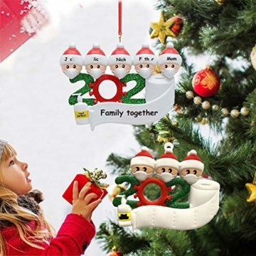 2020 Weihnachtsschmuck,DIY Personalisierte Überlebende Familie Von 2, 3, 4, 5,6,7 Weihnachten 2020 Christmas Ornament Segen Harz Schneemann Weihnachtsbaum Hängen Anhänger Für Weihnachtsbaum Deko - 4