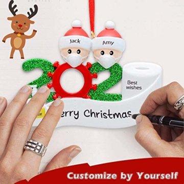 2020 Weihnachtsschmuck,DIY Personalisierte Überlebende Familie Von 2, 3, 4, 5,6,7 Weihnachten 2020 Christmas Ornament Segen Harz Schneemann Weihnachtsbaum Hängen Anhänger Für Weihnachtsbaum Deko - 5