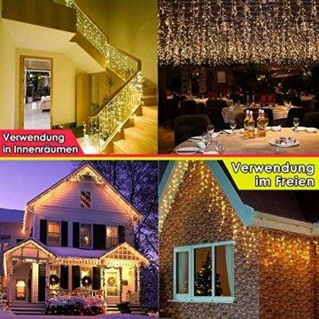 216 LED Lichterkette, 5.5M Eiszapfen Lichter mit EU stecker, 8 Leuchtmodi Dimmbar, Eisregen Lichtervorhang mit Remote Timer, Außen Innen Deko für Weihnachten Garten Party Hochzeit Winter (Warmweiß) - 3