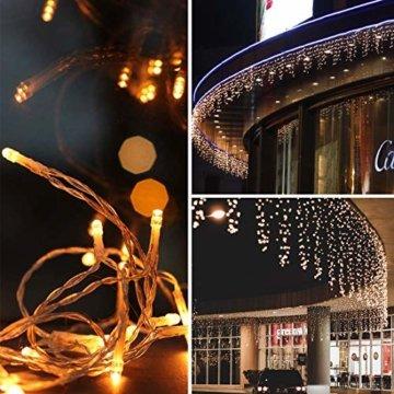216 LED Lichterkette, 5.5M Eiszapfen Lichter mit EU stecker, 8 Leuchtmodi Dimmbar, Eisregen Lichtervorhang mit Remote Timer, Außen Innen Deko für Weihnachten Garten Party Hochzeit Winter (Warmweiß) - 4