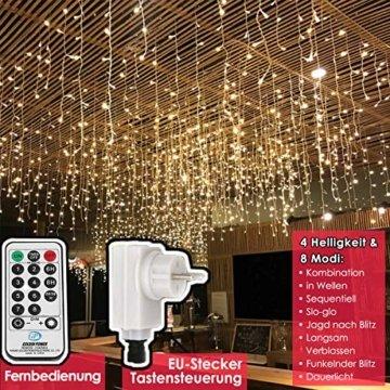 216 LED Lichterkette, 5.5M Eiszapfen Lichter mit EU stecker, 8 Leuchtmodi Dimmbar, Eisregen Lichtervorhang mit Remote Timer, Außen Innen Deko für Weihnachten Garten Party Hochzeit Winter (Warmweiß) - 5