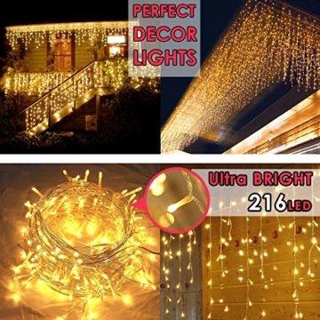 216 LED Lichterkette, 5.5M Eiszapfen Lichter mit EU stecker, 8 Leuchtmodi Dimmbar, Eisregen Lichtervorhang mit Remote Timer, Außen Innen Deko für Weihnachten Garten Party Hochzeit Winter (Warmweiß) - 6