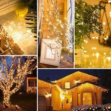 [220 LED] Lichterkette, 25M 8 Modi lichterkette außen strom lichterketten wasserdicht außen/innen Kupfer Lichterketten mit Remote-Timer zum Schlafzimmer, balkon möbel, Party, Weihnachten (Warmweiß) - 2