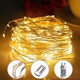 [220 LED] Lichterkette, 25M 8 Modi lichterkette außen strom lichterketten wasserdicht außen/innen Kupfer Lichterketten mit Remote-Timer zum Schlafzimmer, balkon möbel, Party, Weihnachten (Warmweiß) - 1