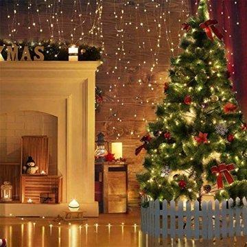 [220 LED] Lichterkette, 25M 8 Modi lichterkette außen strom lichterketten wasserdicht außen/innen Kupfer Lichterketten mit Remote-Timer zum Schlafzimmer, balkon möbel, Party, Weihnachten (Warmweiß) - 4