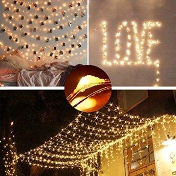 [220 LED] Lichterkette, 25M 8 Modi lichterkette außen strom lichterketten wasserdicht außen/innen Kupfer Lichterketten mit Remote-Timer zum Schlafzimmer, balkon möbel, Party, Weihnachten (Warmweiß) - 5