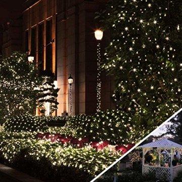 [220 LED] Lichterkette, 25M 8 Modi lichterkette außen strom lichterketten wasserdicht außen/innen Kupfer Lichterketten mit Remote-Timer zum Schlafzimmer, balkon möbel, Party, Weihnachten (Warmweiß) - 7