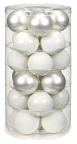 24 Christbaumkugeln GLAS 6cm // Weihnachtskugeln Baumkugeln Baumschmuck Weihnachtsdeko Kugeln Glaskugeln Dose, Farbe:Just White-Mix ( weiß ) - 1