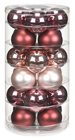 24 Christbaumkugeln GLAS 6cm // Weihnachtskugeln Baumkugeln Baumschmuck Weihnachtsdeko Kugeln Glaskugeln Dose, Farbe:Avenue of Romance ( rosa magnolie ) - 1