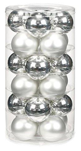 24 Christbaumkugeln GLAS 6cm // Weihnachtskugeln Baumkugeln Baumschmuck Weihnachtsdeko Kugeln Glaskugeln Dose, Farbe:Silber glanz / weiß matt - 1