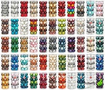 24 Christbaumkugeln GLAS 6cm // Weihnachtskugeln Baumkugeln Baumschmuck Weihnachtsdeko Kugeln Glaskugeln Dose, Farbe:Silber glanz / weiß matt - 2
