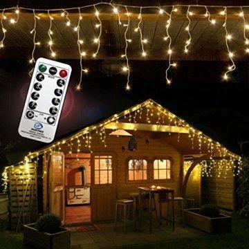 240 LED Lichterkette Eisregen warmweiß 6m Timer Programme Fernbedienung Dimmen außen - 3