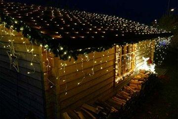 240 LED Lichterkette Eisregen warmweiß 6m Timer Programme Fernbedienung Dimmen außen - 5