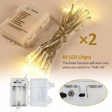2stk 40er LED Outdoor [Timer] Lichterkette Batterienbetrieben Warmweiß (8 Modi, 5M Durchsichtigen Kabeln, 120 Stunden Betriebsdauer, IP65 Wasserdicht, Außenbeleuchtung) - 4