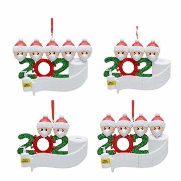 3D dreidimensional Deko Ideen Weihnachten,2020 Personalisierte Überlebende Familie Von 2, 3, 4, 5 Weihnachten 2020 Feiertags Deko DIY Name Segen Harz Schneemann Weihnachtsbaum Hängen Anhänger - 5