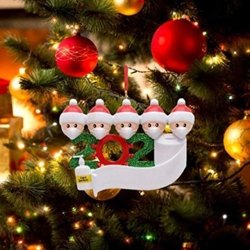 3D dreidimensional Deko Ideen Weihnachten,2020 Personalisierte Überlebende Familie Von 2, 3, 4, 5 Weihnachten 2020 Feiertags Deko DIY Name Segen Harz Schneemann Weihnachtsbaum Hängen Anhänger - 6