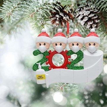 3D dreidimensional Deko Ideen Weihnachten,2020 Personalisierte Überlebende Familie Von 2, 3, 4, 5 Weihnachten 2020 Feiertags Deko DIY Name Segen Harz Schneemann Weihnachtsbaum Hängen Anhänger - 7