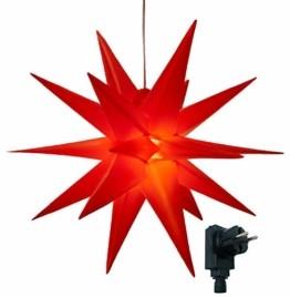 3D Leuchtstern inkl. warm-weißer LED Beleuchtung | für Innen und Außen geeignet | hängend | 7,5 m Zuleitung | ca. 57x44x48 cm (Rot) - 1