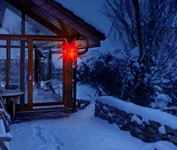 3D Leuchtstern inkl. warm-weißer LED Beleuchtung | für Innen und Außen geeignet | hängend | 7,5 m Zuleitung | ca. 57x44x48 cm (Rot) - 5