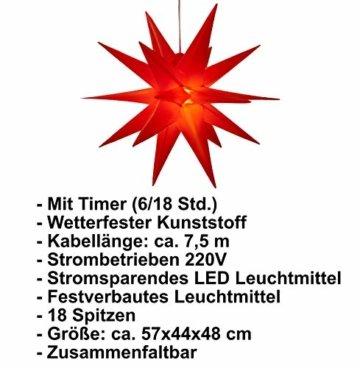 3D Leuchtstern inkl. warm-weißer LED Beleuchtung | für Innen und Außen geeignet | hängend | 7,5 m Zuleitung | ca. 57x44x48 cm (Rot) - 6